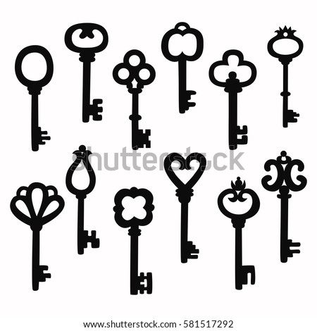 Retro vintage keys silhouettes vector set collection
