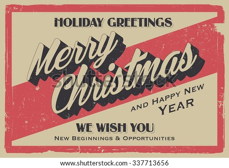 retro vintage merry christmas and happy new year background for greeting card poster label