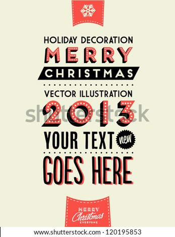 Retro Vintage Merry Christmas Background with Typography