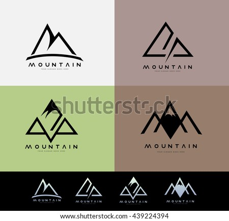 Retro Vintage Mountain Logo with blurred background. Creative Mountain Linear Logo Design.