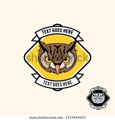Retro vintage owl patch emblem template