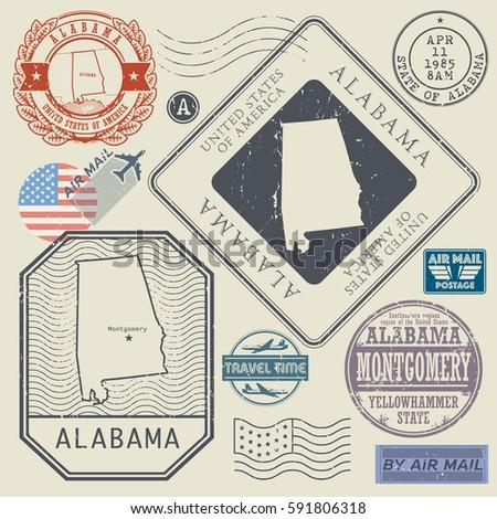 Retro vintage postage stamps set Alabama, United States theme, vector illustration