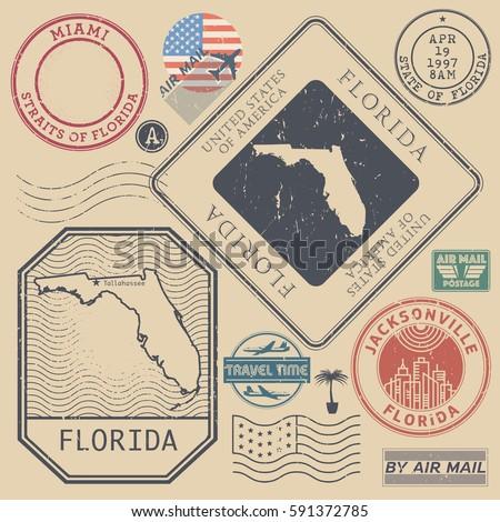 retro vintage postage stamps...