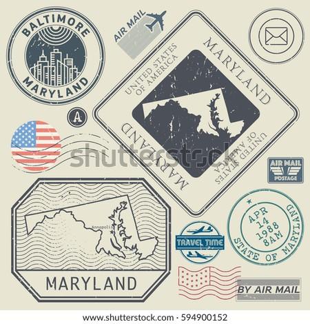 Retro vintage postage stamps set Maryland, United States theme, vector illustration