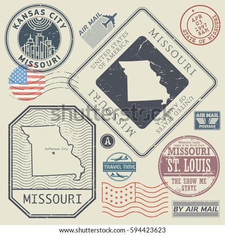 Retro vintage postage stamps set Missouri, United States theme, vector illustration