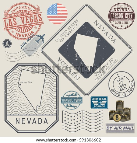 Retro vintage postage stamps set Nevada, United States theme, vector illustration