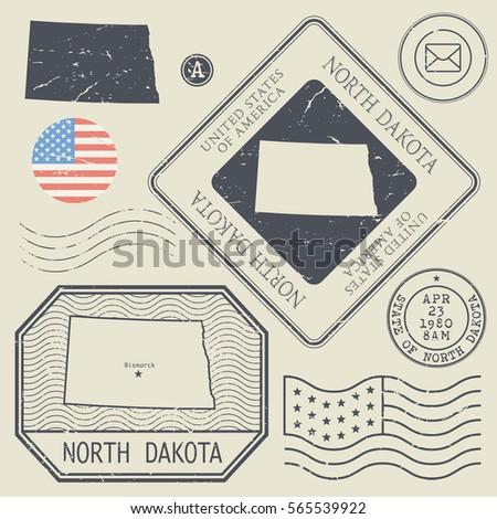 Retro vintage postage stamps set North Dakota, United States theme, vector illustration