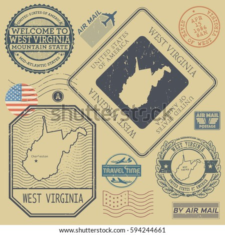Retro vintage postage stamps set West Virginia, United States theme, vector illustration