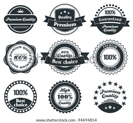 Retro Vintage Premium Quality and Best Choice Label collection with black grungy design.