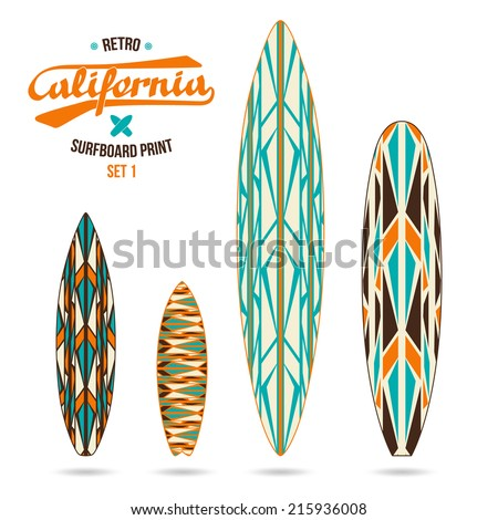 Retro vintage prints for various forms of surfboard shortboard longboard fish and gun
