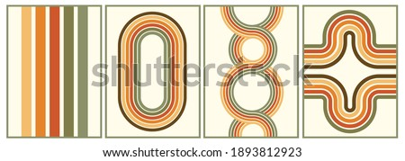 retro vintage 70s style stripes background poster lines. shapes vector design graphic 1970s retro background. abstract stylish 70s era line frame illustration Stockfoto ©