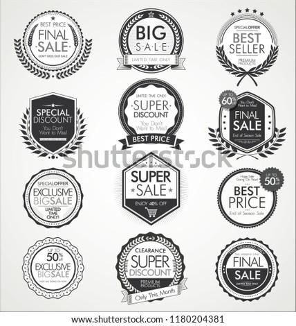 Retro vintage sale badges and labels collection