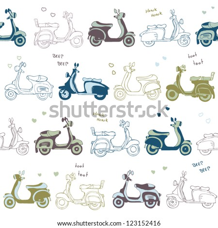 stock vector : retro vintage seamless vector scooter pattern