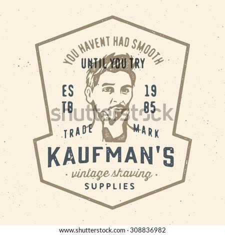 Retro vintage shaving company t shirt apparel print graphics. Old fashioned badge emblem logo label design. Beautiful young male face portrait vector illustration.