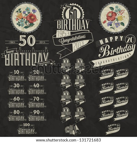 Retro Vintage style Birthday greeting card collection in calligraphic design. Vintage calligraphic and typographic style Happy Birthday hand lettering collection. Vector. Hungarian flowers elements.