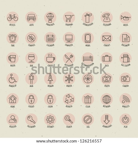 Retro Vintage style Icon collection. Universal icons illustration with name tag. Hand drawing outline style icons for web, mobile and other design.
