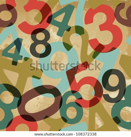 Retro vintage style numbers set seamless pattern. Vector file layered for easy manipulation and custom coloring