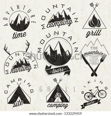 retro vintage style symbols for