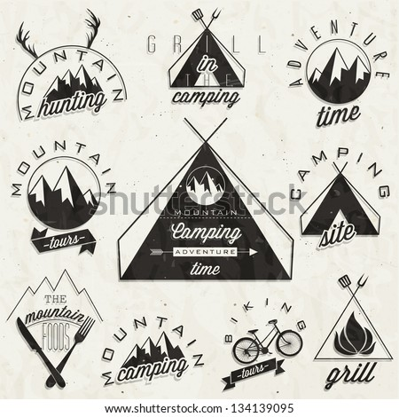 retro vintage style symbols for