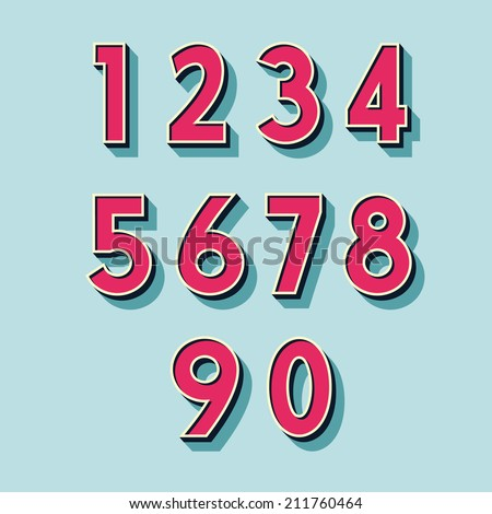 retro vintage style vector relieved numbers with shadow and stroke