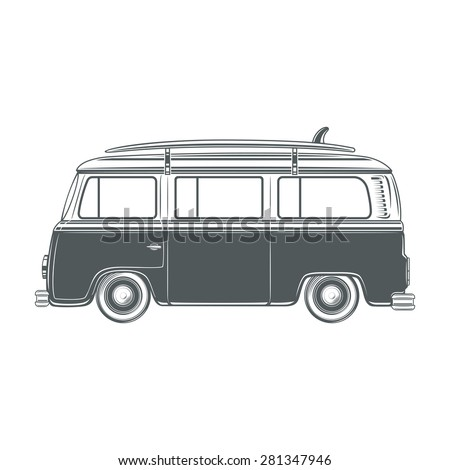 Retro, vintage, travel, camper van, with surf board, isolated on white  background. Vector illustration