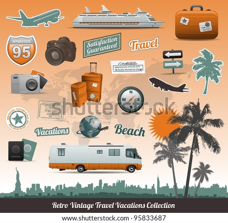 Retro vintage travel icons symbol collection