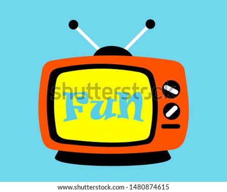 Retro vintage TV and television with fun text on the screen and display. Tele broadcast as medium of entertainement, amusement and funny programme. Vector illustration