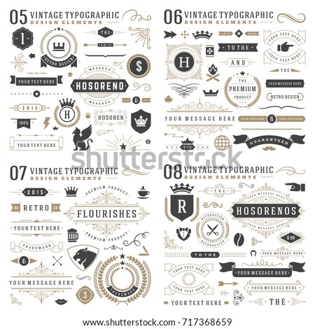 Retro vintage typographic design elements. Arrows, labels, ribbons, logos symbols, crowns, calligraphy swirls, ornaments and other. - Shutterstock ID 717368659