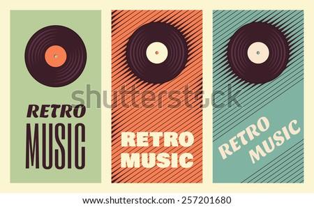 Retro, vintage vinyl record banners. Three retro music templates