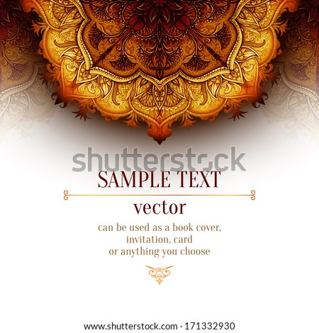 Retro Vintage wedding greeting card. Vector background. Card or invitation. Vintage decorative elements. Hand drawn background. Floral ornament. Islam, arabic, indian, ottoman motifs.