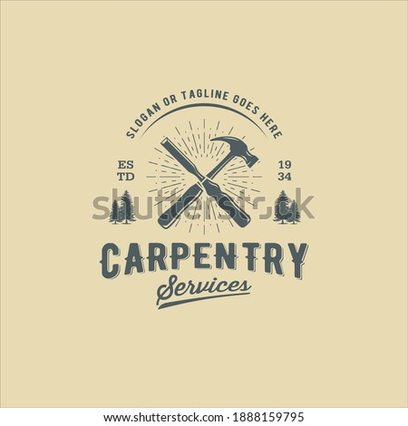Retro Vintage Woodworking Carpentry with Crossed Hammer and Chisel Logo Design Stock photo ©