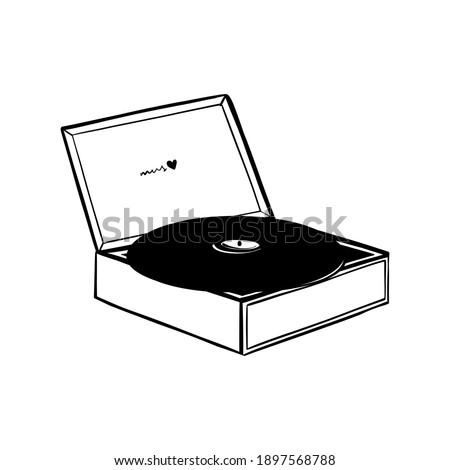 retro vinyl record player with