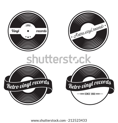 retro vinyl records emblem
