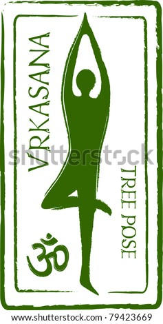 Retro Vrkasana Yoga Tree Pose in Passport Stamp Style Vector Illustration