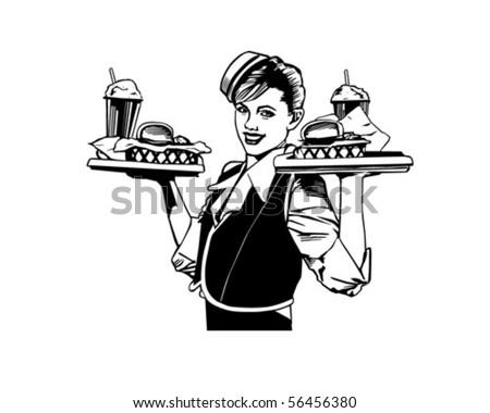 Retro Waitress - Clip Art - stock vector
