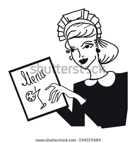 Retro waitress girl with bar menu illustration