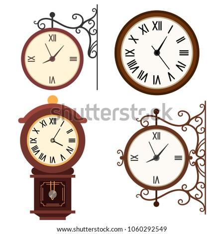 retro wall clock vector cartoon