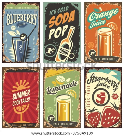 Retro wall decor with juices and drinks set. Vintage tin signs collection with organic fruit products. Vector juice signs in vintage style with typography elements.