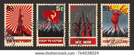 Retro War Propaganda Postage Stamps. Modern Stylization under the Vintage War Propaganda Posters