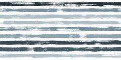 Retro watercolor brush stripes seamless pattern. Gray and blue paintbrush lines horizontal seamless texture for backdrop. Hand drown paint strokes decoration artwork. For garment.