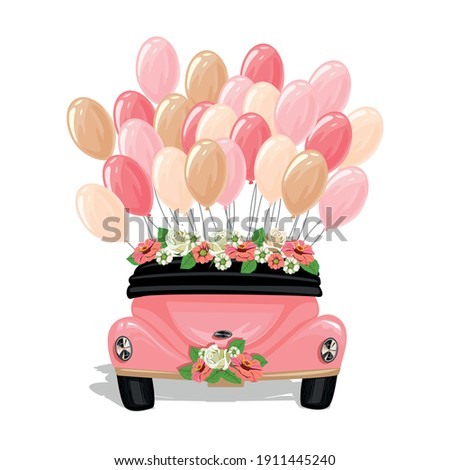 Retro wedding car decorated with flowers and balloons, back view. Wedding vector template illustration in cartoon style.