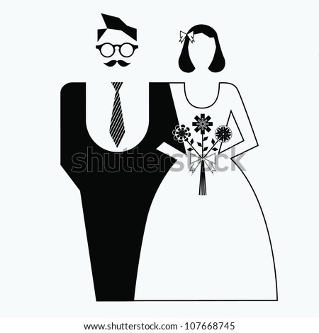 Retro wedding couple - stock vector