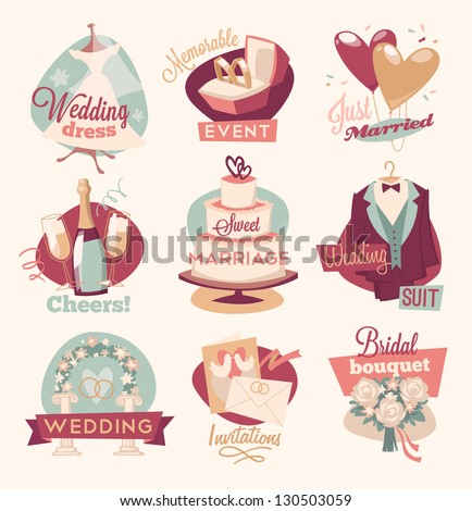 Retro wedding emblems