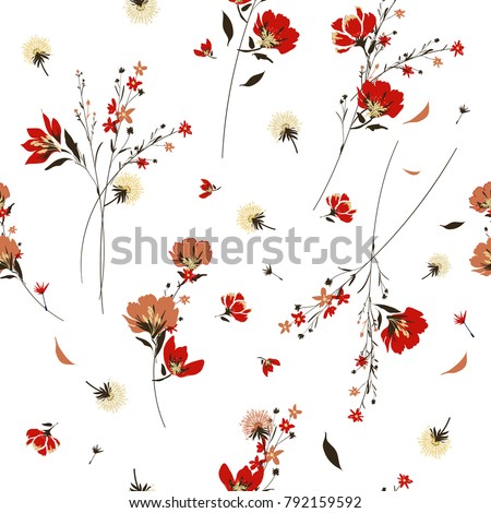 stock-vector-retro-wild-flower-pattern-in-the-many-kind-of-florals-botanical-motifs-scattered-random-seamless