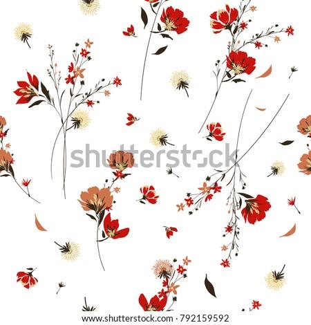 retro wild flower pattern in