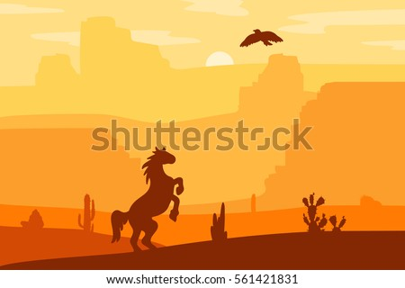 Retro Wild West galloping horse in desert. Vintage sunset in prairie with mustang, cacti and eagle in sky. Western Day. Natural Landscape for print, poster, illustration, sticker. Vector