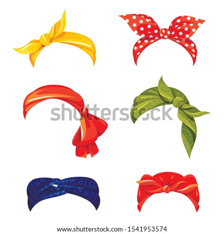 Retro woman bandana flat vector illustrations set. Stylish multicolor hair accessories isolated cliparts on white background. Fashionable headscarfs and hairbands collection. Female clothing Stock fotó ©