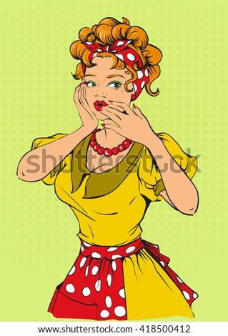 retro woman covered her mouth