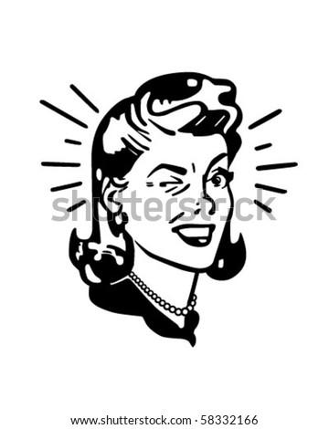 Retro Woman Winking - Retro Clip Art stock photo