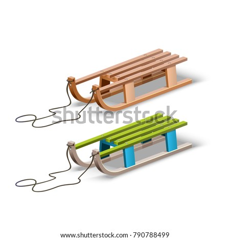 Retro wooden sled with shadow. Children sledding colored in blue and green.